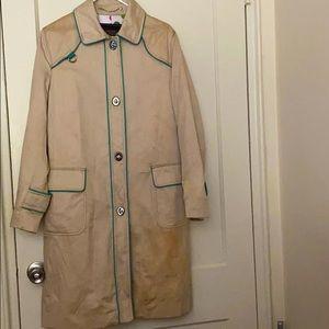 Coach vintage cream & blue long coat size: 12